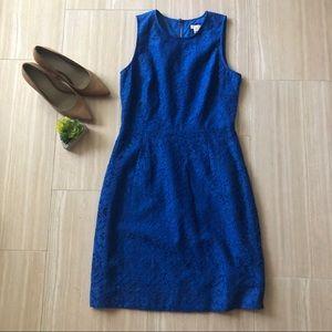 J Crew Floral lace shift dress cobalt blue